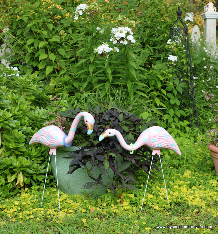 upcycled pink flamingos