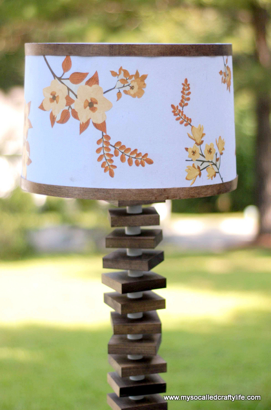 Diy mid century modern inspired wood floor lamp my so called last year i made a fun mid century inspired lamp shade with martha stewart aloadofball Choice Image