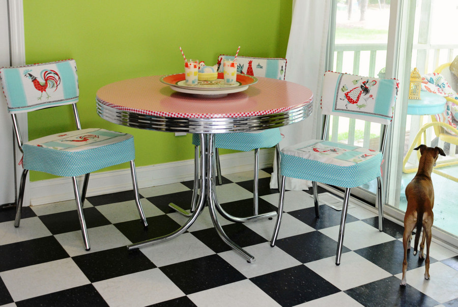 Last Week I Shared How Updated My Diner Style Kitchen Table By Covering It With Oilcloth Fabric We Have Had The And Chair Set For Years Is