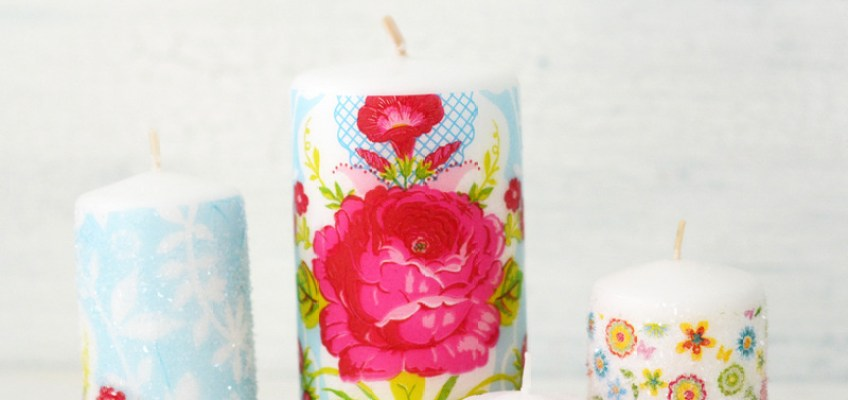 DIY Decoupaged Glitter Candles