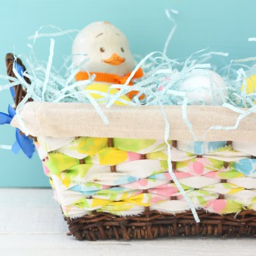 Vintage Fabric Woven Upcycled Easter Basket