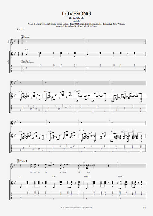 Adele Love Song Guitar Tab Ltt