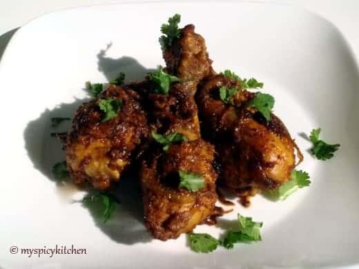 Spicy kerala chicken fry, spicy chicken fry