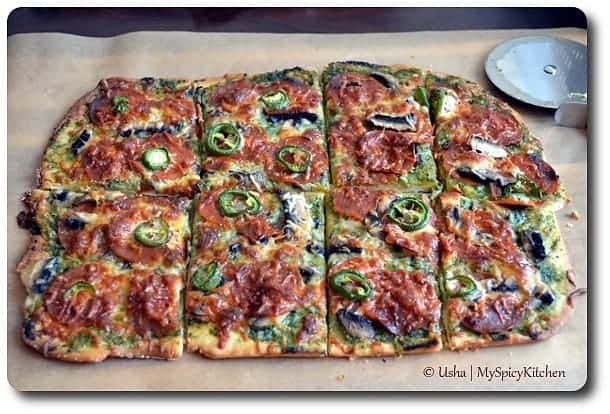 Home Bakers, Pepperoni Mushrooms Jalapeno Pizza with Coriander Chutney