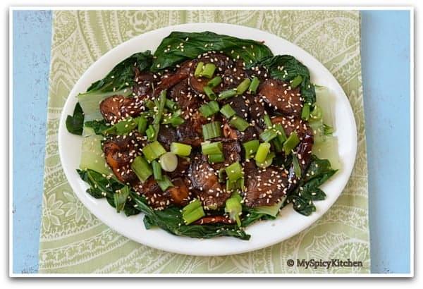 Glazed Shitaki Mushrooms & Bok Choy