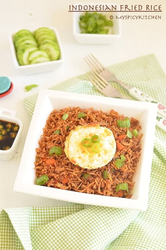 Indonesian Fried Rice ~ Nasi Goreng, Indonesian Food, Indonesian Cuisine, Fried Rice, Blogging Marathon, Buffet On Table, Breakfast, National Dish of Indonesia