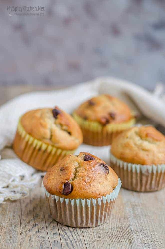 Banana Chocolate Chip Muffins, Bakeathon, Ripe Banana Bakes, No Butter Muffins,