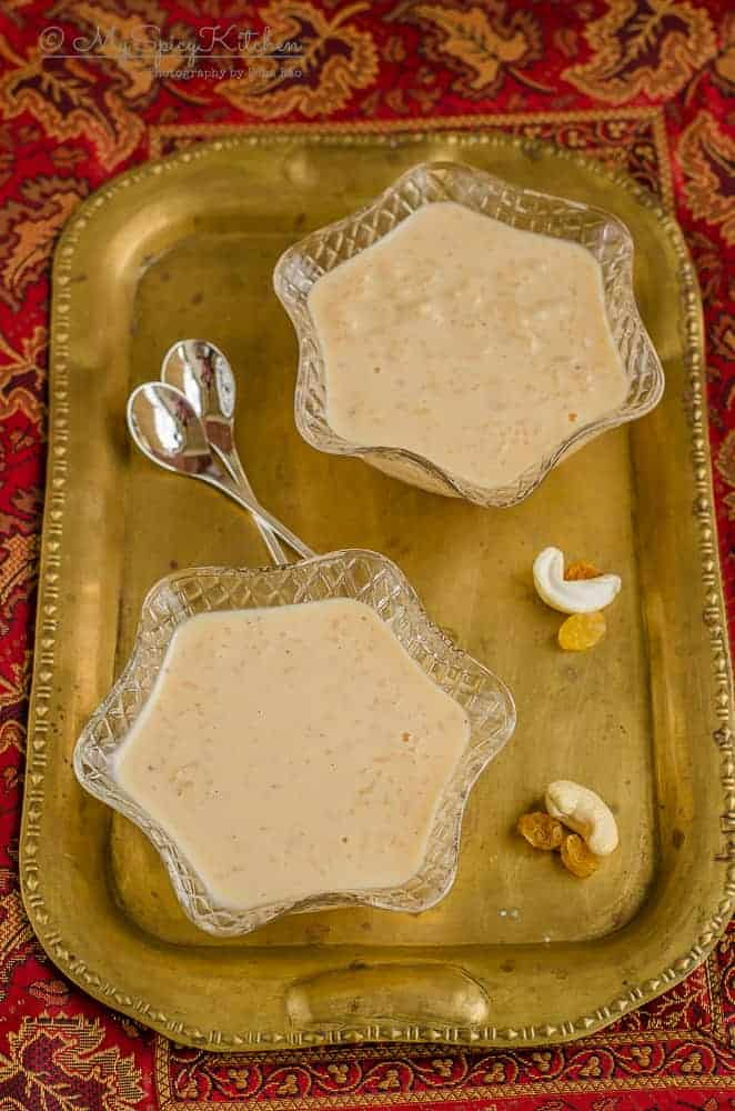 Caramel Rice Pudding, Caramel Rice Kheer, Kheer, Payasam, South Indian Sweet, Indian Sweet, Milk Based Desserts, Milk Based Sweets, One Pot Dish, Pressure Cooker Recipe ,