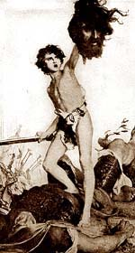 David displays Goliath's severed head as proof of his victory