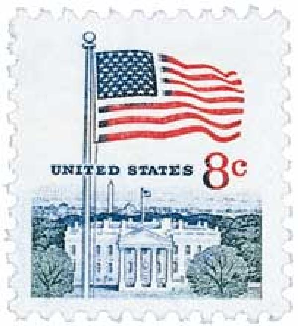1971 8c Flag and White House for sale at Mystic Stamp Company - american flag background for word document