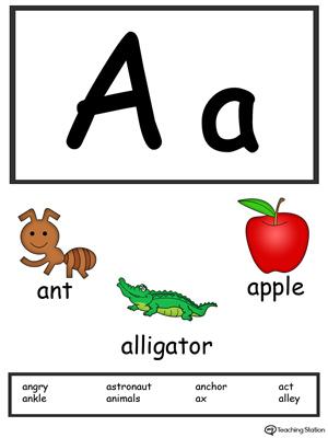 Letter A Alphabet Flash Cards for Preschoolers MyTeachingStation
