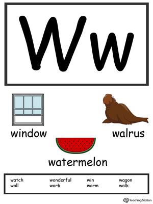 Letter W Alphabet Flash Cards for Preschoolers MyTeachingStation