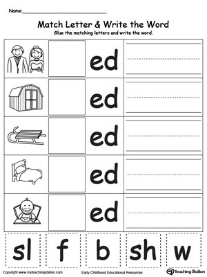 AN Word Family Match Letter and Write the Word MyTeachingStation - word with the letters