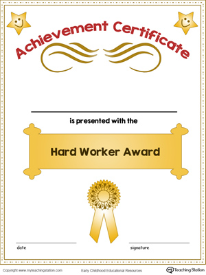 Certificate of Achievement Award in Color MyTeachingStation