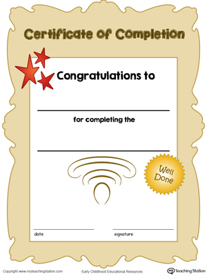 Certificate of Completion Award in Color MyTeachingStation