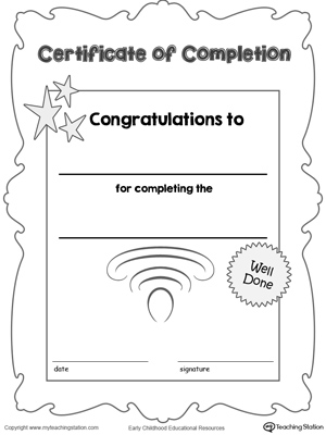 Certificate of Completion Award MyTeachingStation