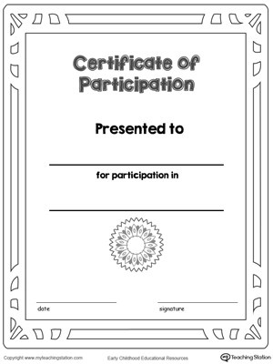 Certificate of Participation Award in Color MyTeachingStation