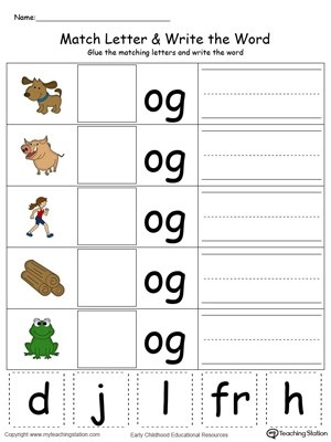 OG Word Family Match Letter and Write the Word in Color - word letter