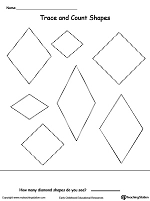 Trace and Count Diamond Shapes MyTeachingStation