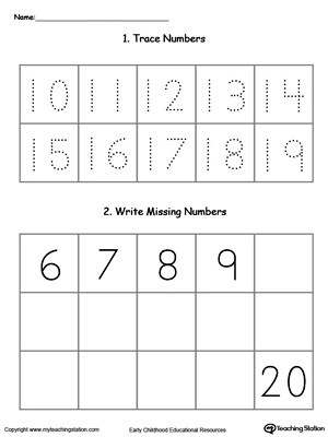 Early Childhood Writing Numbers Worksheets MyTeachingStation