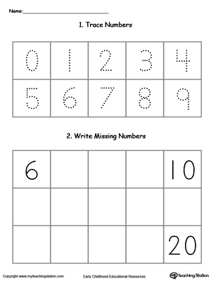 Trace and Write Missing Numbers 6 Through 20 MyTeachingStation