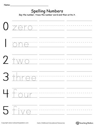 Tracing and Writing Number Words 0-5 MyTeachingStation - Numbers In Writing