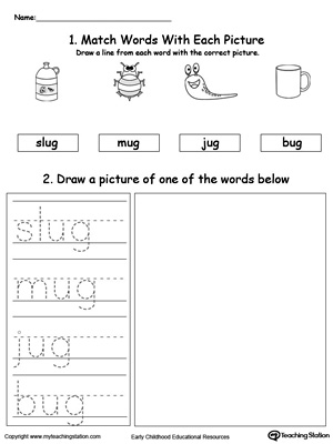 UG Word Family Phonics and Writing Practice MyTeachingStation