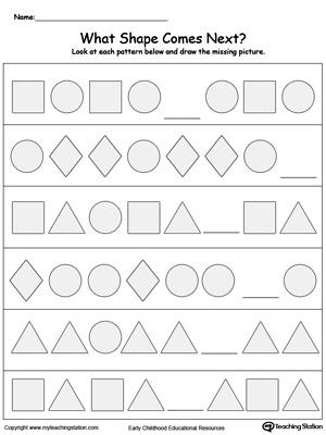 Kindergarten Patterns Printable Worksheets MyTeachingStation