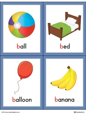 Letter B Words and Pictures Printable Cards Ball, Bed, Balloon