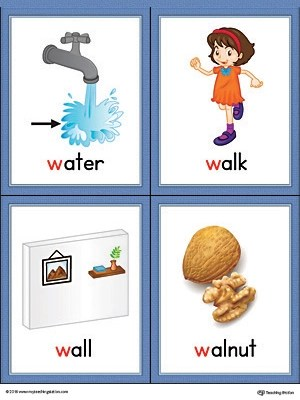 Letter W Words and Pictures Printable Cards Water, Walk, Wall