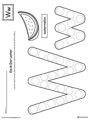 Letter W Do-A-Dot Worksheet MyTeachingStation