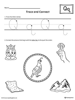 Trace Letter Q and Connect Pictures Worksheet MyTeachingStation