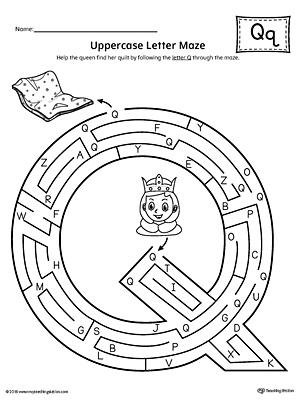 Uppercase Letter Q Maze Worksheet MyTeachingStation