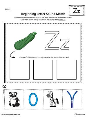 Letter Z Beginning Sound Picture Match Worksheet (Color