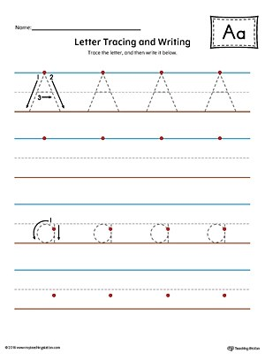 Letter A Tracing and Writing Printable Worksheet (Color
