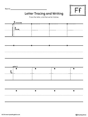 Letter F Tracing and Writing Printable Worksheet MyTeachingStation