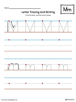 Letter M Tracing and Writing Printable Worksheet (Color