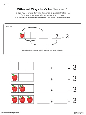 Different Ways to Make Number 3 Printable Worksheet (Color