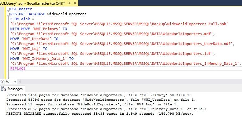 Installing Wide World Importers Sample Database My Tec Bits