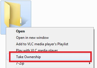 Take Ownership of files or folders using right-click context menu