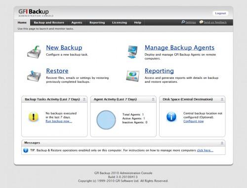 GFI Backup Administrator (web) console
