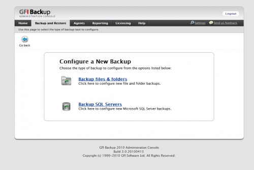 GFI Backup - configure a backup