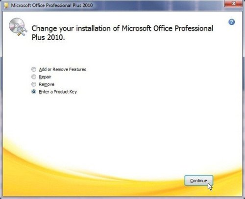 change product key office 2010