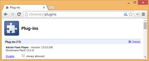 disable adobe flash plugin in google chrome browser