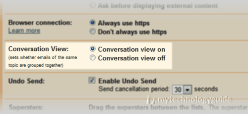 enable/disable gmail conversation view
