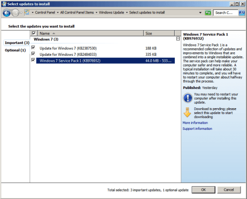 Windows 7 SP1 WU