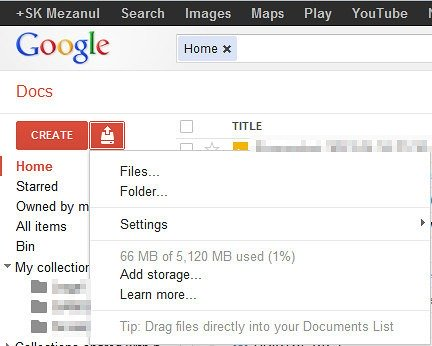 google docs showing 5gb space