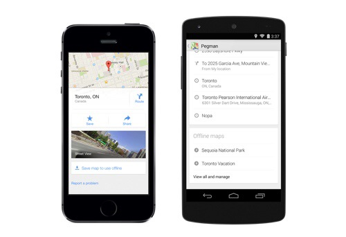 Offline maps on Google Maps 8 app