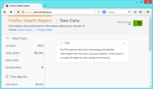 about:healthreport page