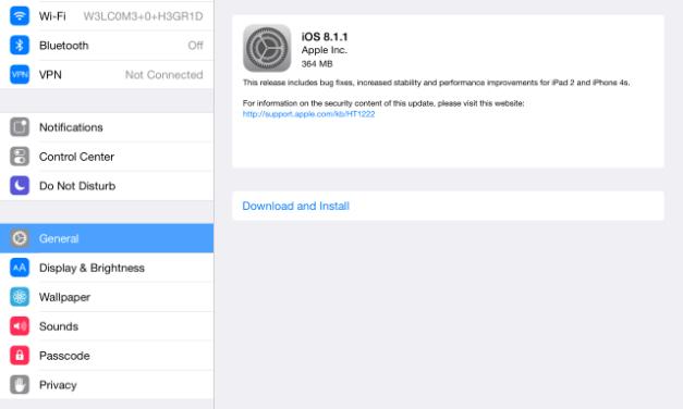 iOS 8.1.1 Update Details With IPSW Download Links